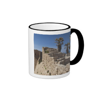 Caesarea ruins of port built by Herod the Great 3 Ringer Coffee Mug