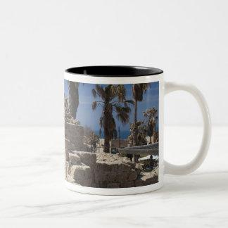 Caesarea ruins of port built by Herod the Great 3 Two-Tone Coffee Mug