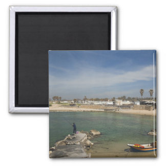 Caesarea ruins of port built by Herod the Great 2 Inch Square Magnet
