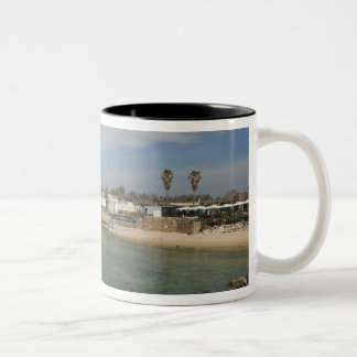 Caesarea ruins of port built by Herod the Great Two-Tone Coffee Mug