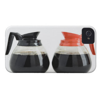 Caf. and Decaf. Coffee Pots on White. iPhone 4 Case