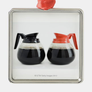 Caf. and Decaf. Coffee Pots on White. Metal Ornament