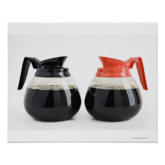 Caf. and Decaf. Coffee Pots on White. Poster