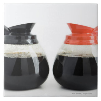 Caf. and Decaf. Coffee Pots on White. Large Square Tile