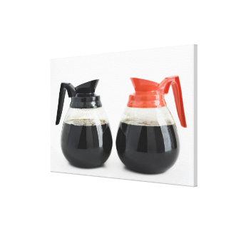 Caf. y Decaf. Potes del café en blanco Impresión En Lienzo