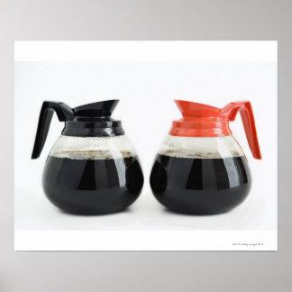 Caf y Decaf Potes del café en blanco Impresiones