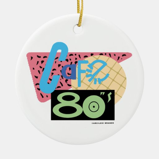 Cafe 80s Double-Sided ceramic round christmas ornament