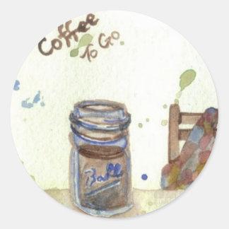 Café a ir - arte Folksy del café de CricketDiane Pegatina Redonda
