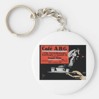 Cafe ABG Vintage Coffee Shop Ad Art Keychain