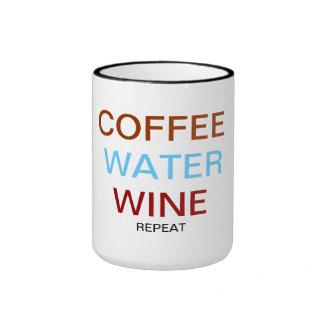 Café. agua. vino taza a dos colores