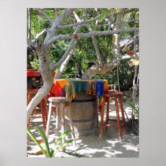 Café al aire libre de la isla póster