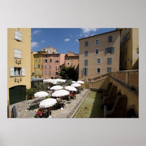Café al aire libre, lugar de l'Eveche, Grasse, Póster