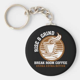Café amargo adicional para los empleados contrarie llavero redondo tipo pin