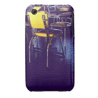 Café amarillo de la púrpura de la silla carcasa para iPhone 3