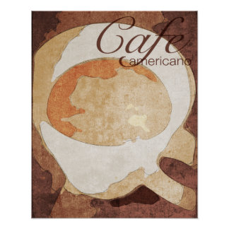 Cafe Americano coffee poster, framed or unframed Poster