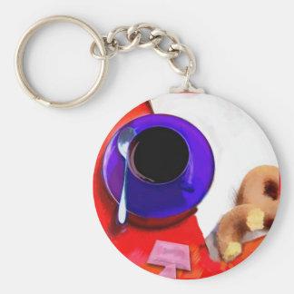 Café, anillos de espuma y edulcorante bajo de la c llavero redondo tipo pin