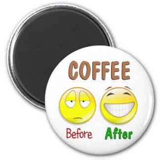 Café antes después imán de nevera