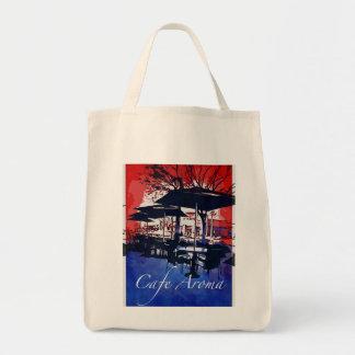 Cafe Aroma Sidewalk Cafe Red Blue Pop Art Design Canvas Bags
