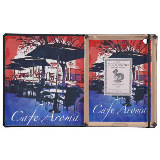 Cafe Aroma Sidewalk Cafe Red Blue Pop Art Design iPad Folio Cases
