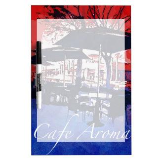 Cafe Aroma Sidewalk Cafe Red Blue Pop Art Design Dry Erase Whiteboards
