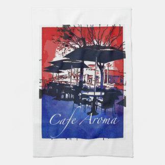 Cafe Aroma Sidewalk Cafe Red Blue Pop Art Design Kitchen Towel