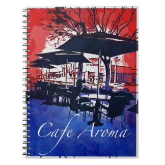 Cafe Aroma Sidewalk Cafe Red Blue Pop Art Design Note Books