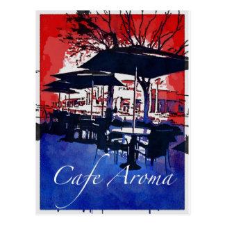 Cafe Aroma Sidewalk Cafe Red Blue Pop Art Design Postcards