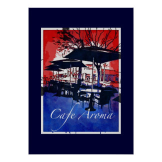 Cafe Aroma Sidewalk Cafe Red Blue Pop Art Design Posters