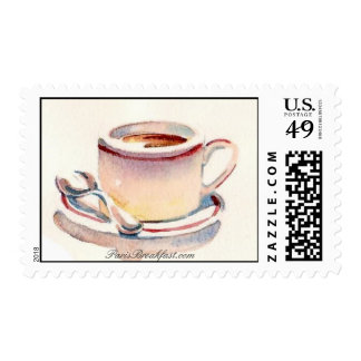 Cafe au lait by ParisBreakfast.com Postage Stamps