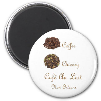 CAFE AU LAIT NEW ORLEANS COFFEE CHICORY 2 INCH ROUND MAGNET
