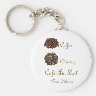 CAFE AU LAIT NEW ORLEANS COFFEE CHICORY BASIC ROUND BUTTON KEYCHAIN