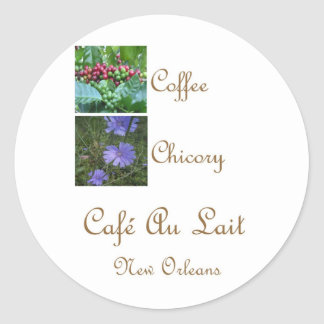 CAFE AU LAIT NEW ORLEANS COFFEE CHICORY CLASSIC ROUND STICKER