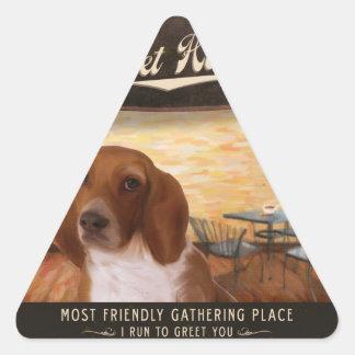 Café Basset Hound Triangle Sticker