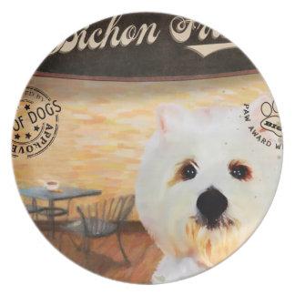 Cafe Bichon Frise Melamine Plate
