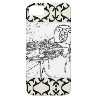Cafe Bistro Table on Damask iPhone 5 Case