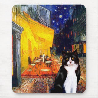 Cafe - Black and White cat Mouse Pad