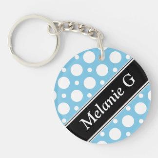 Cafe Blue Assorted Polka Dot Acrylic Keychain