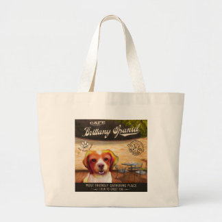 Cafe Brittany Spaniel Canvas Bags