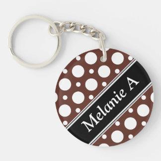 Cafe Brown Assorted Polka Dots Acrylic Keychain