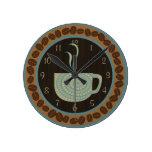 Café Brown de la taza O y trullo Relojes