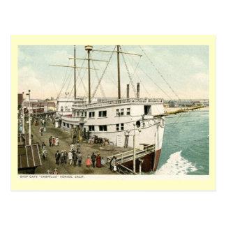 Café Cabrillo, vintage de la nave de Venecia, Tarjetas Postales
