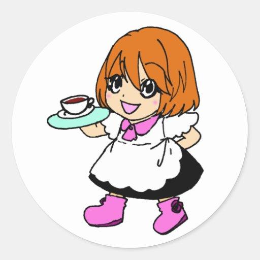 Café, café, chica, criada pegatina redonda