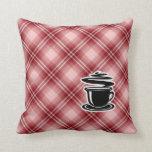Café caliente de la tela escocesa roja almohada