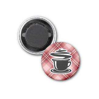 Café caliente de la tela escocesa roja imán redondo 3 cm