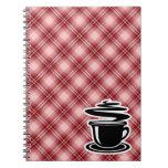 Café caliente de la tela escocesa roja libretas espirales