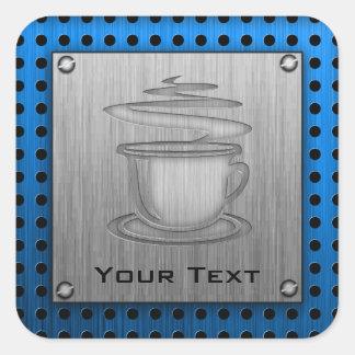 Café caliente; Metal-mirada Pegatina Cuadrada