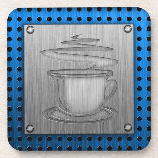 Café caliente; Metal-mirada Posavasos