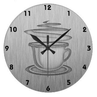 Café caliente; Metal-mirada Relojes De Pared
