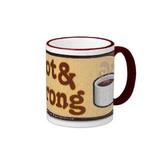 Café caliente y fuerte taza a dos colores