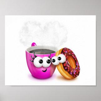 Café caliente y un poster del buñuelo